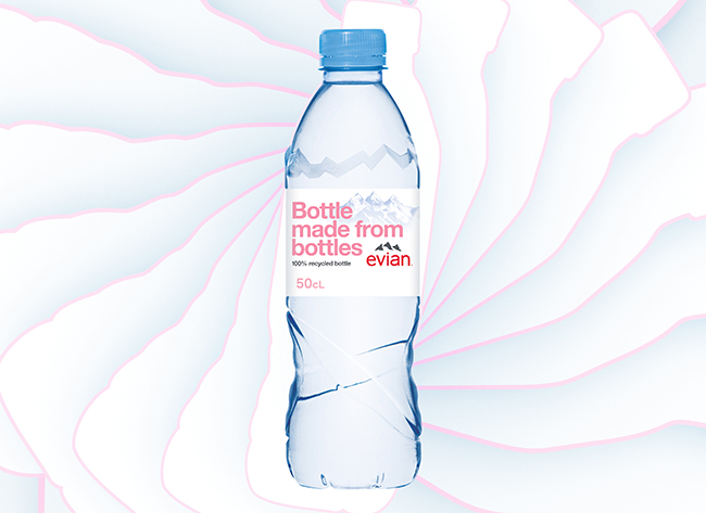 Evian's 100% recycled water bottle