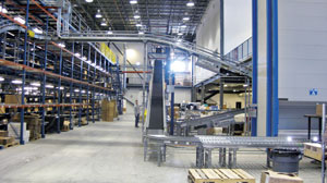 A maze of conveyors connect multiple levels and sections of the 160,000 sq-ft Vicorinox Swiss Army DC in Monroe, CT