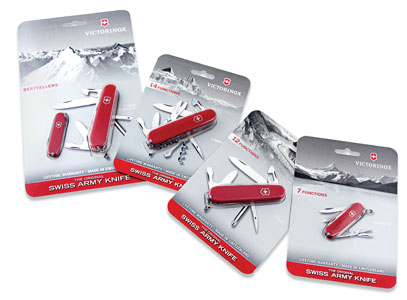 Victorinox Swiss Army Inc. uses paperboard blisters to evoke better branding opportunities  than those