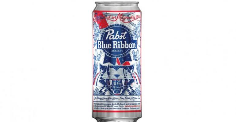 """The first Pabst Art winner from 2014, Josh Holland is credited via on-can printing for a design that shows a wild side.  """"The Art Can Contest allows us to literally turn our biggest platform into a blank canvas for an emerging artist,"""" says Andrew Heard, brand manager of art at Pabst Blue Ribbon. """"We put original art in the hands of millions every year and allow our customers to experience incredible art wherever they are enjoying a Pabst Blue Ribbon."""""""