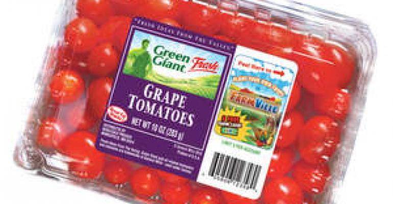 Food packaging: Green Giant and FarmVille team up for online promotion with redeemable codes on packages