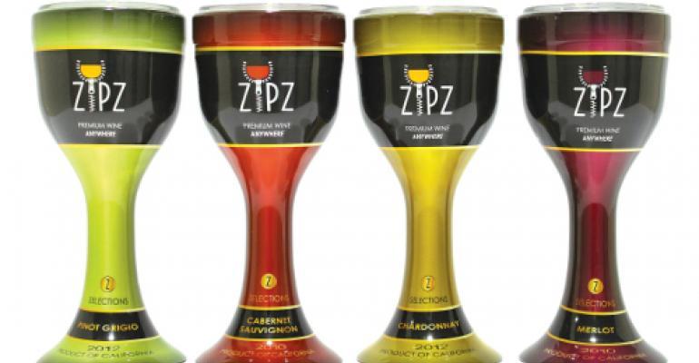 Single-serve packaging for premium wine has zip