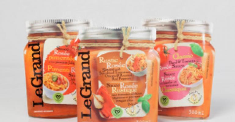 Pesto products in a pouch trick the eye with faux canning jar design