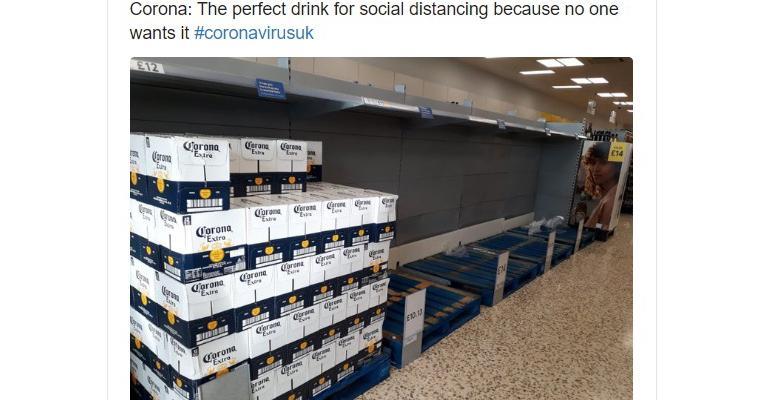Corona Beer empty shelves Tweet