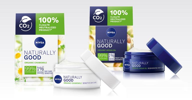 Nivea Naturally Good Climate Neutralized face-care packaging