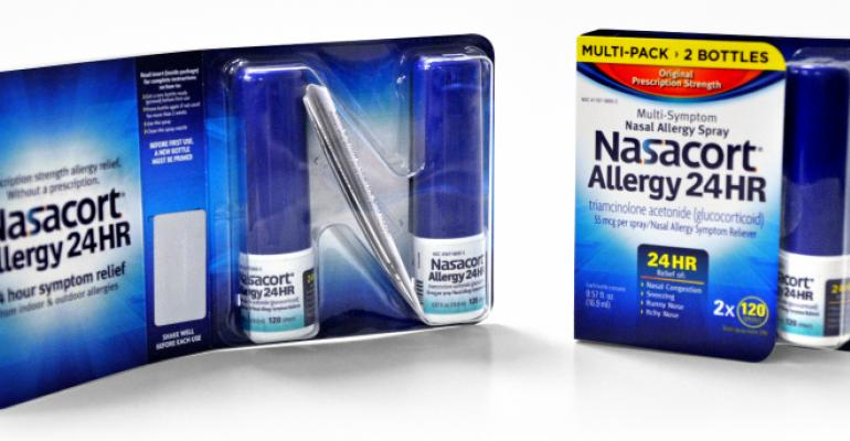 Nasacort OTC package delivers maximum impact with minimal material