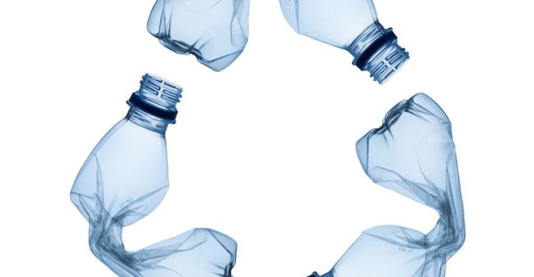 PET bottles form recycling symbol