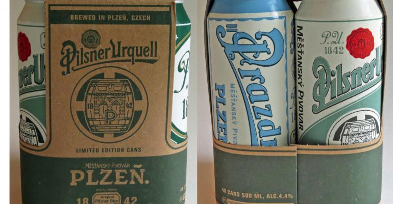 Pilsner Urquell beer cans emphasize heritage, hockey