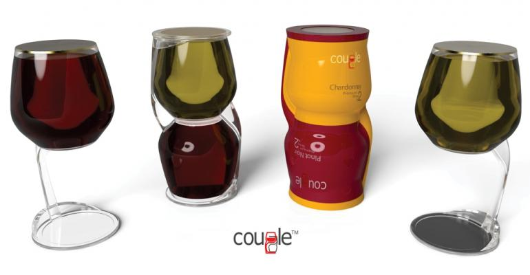 Single-serve stemmed wine packaging coupled for efficiency